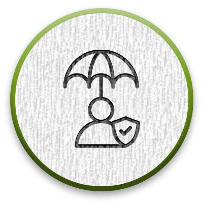 umbrella protecting a person