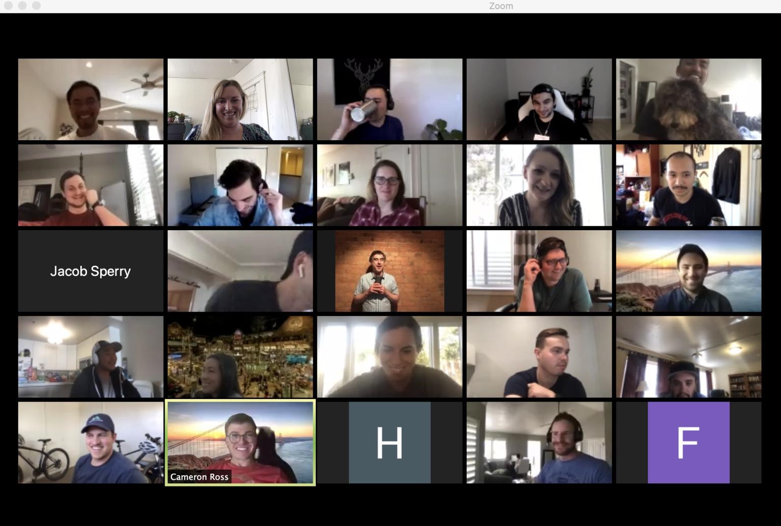 screenshot of a CaptivateIQ virtual stand-up meeting