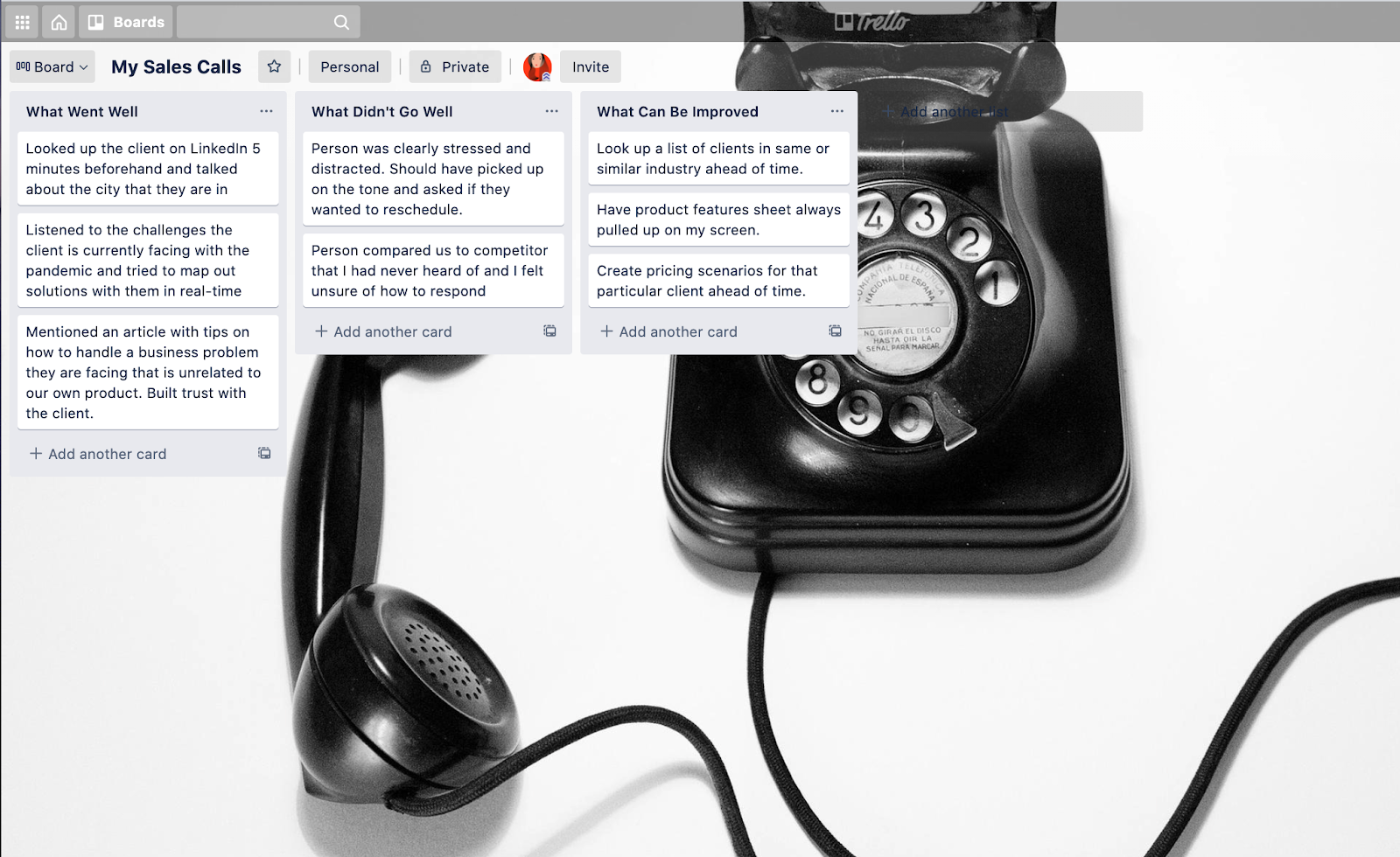 screenshot of a salesperson's call notes