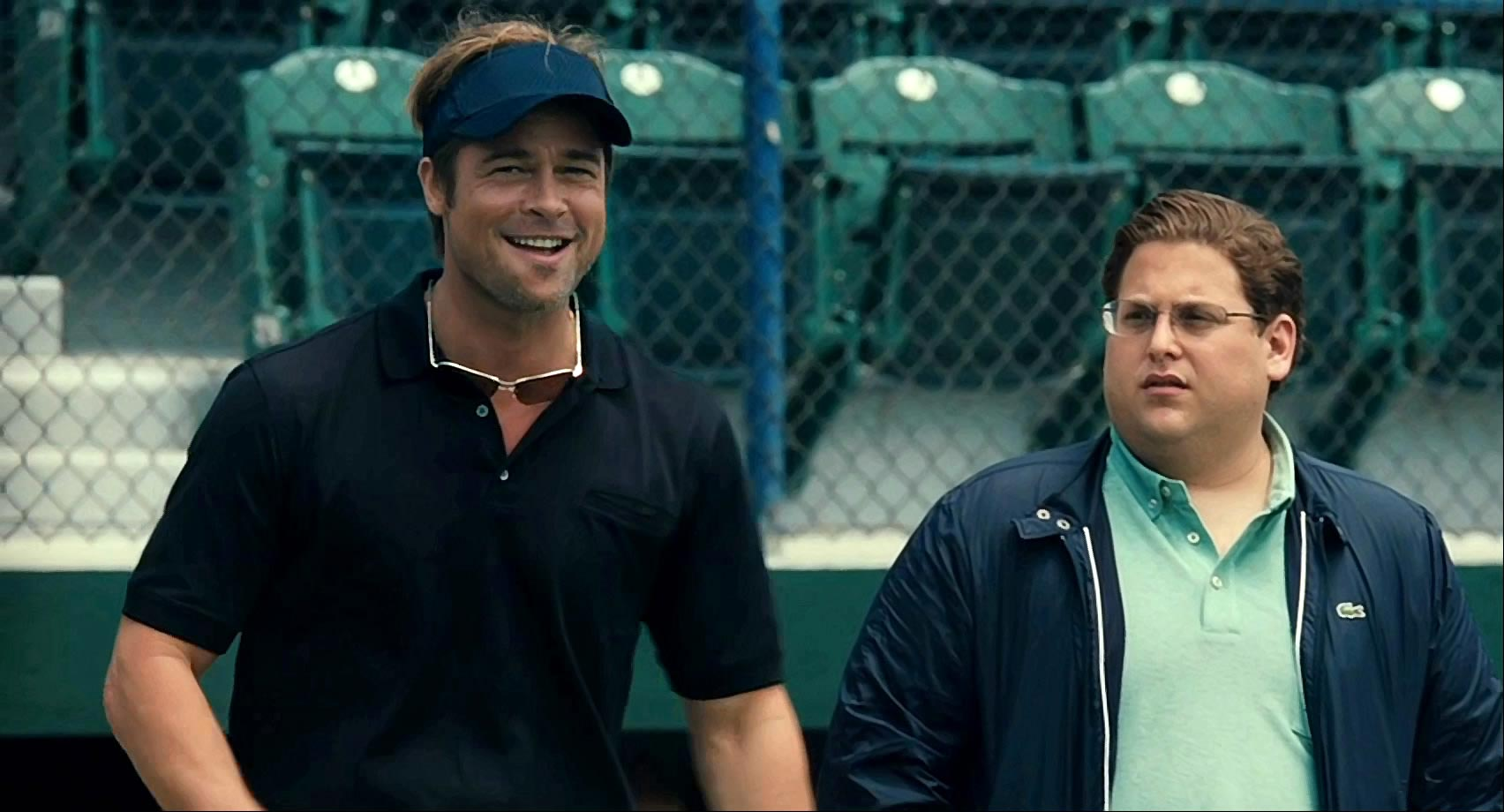 Brad Pitt and Jonah Hill in the movie Moneyball