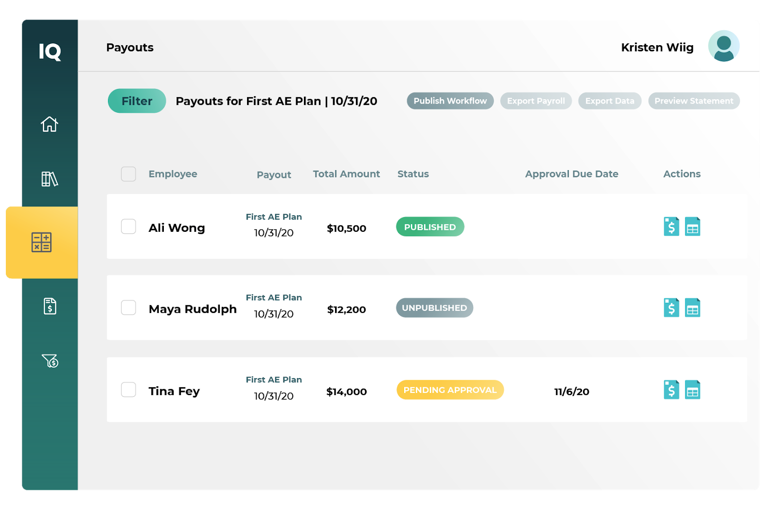 screenshot of plan payouts in CaptivateIQ