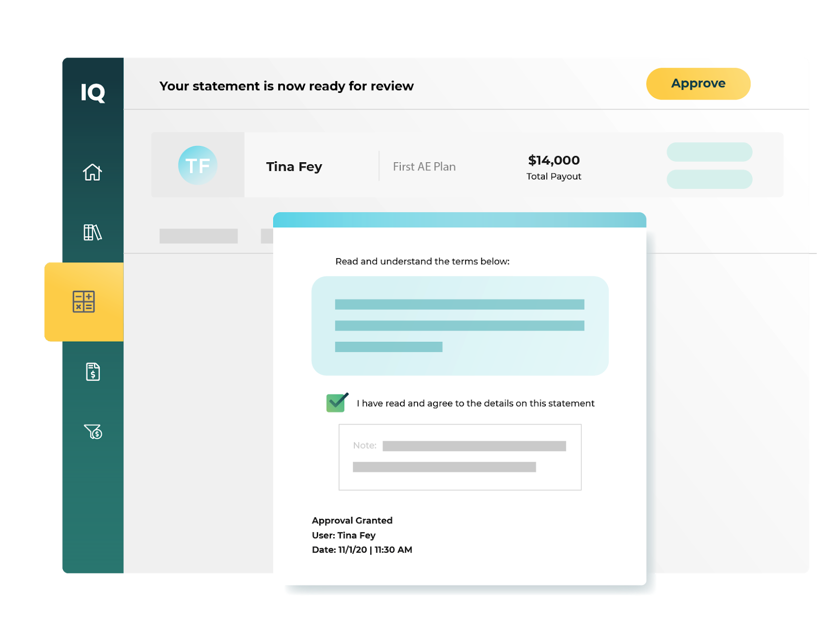 screenshot of payout approval in CaptivateIQ
