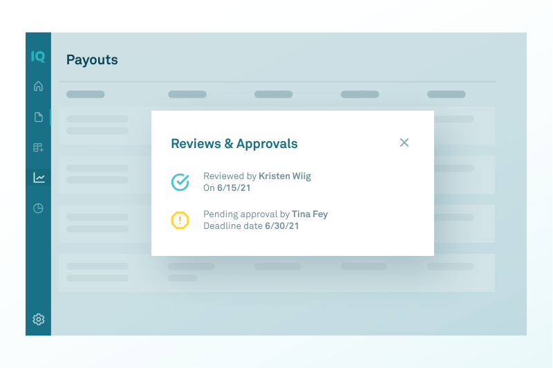 screenshot of reviews & approvals in CaptivateIQ