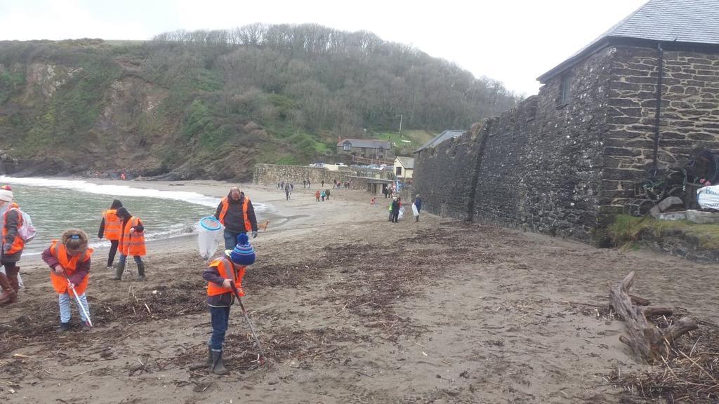 Beach clean at Polkerris Beach