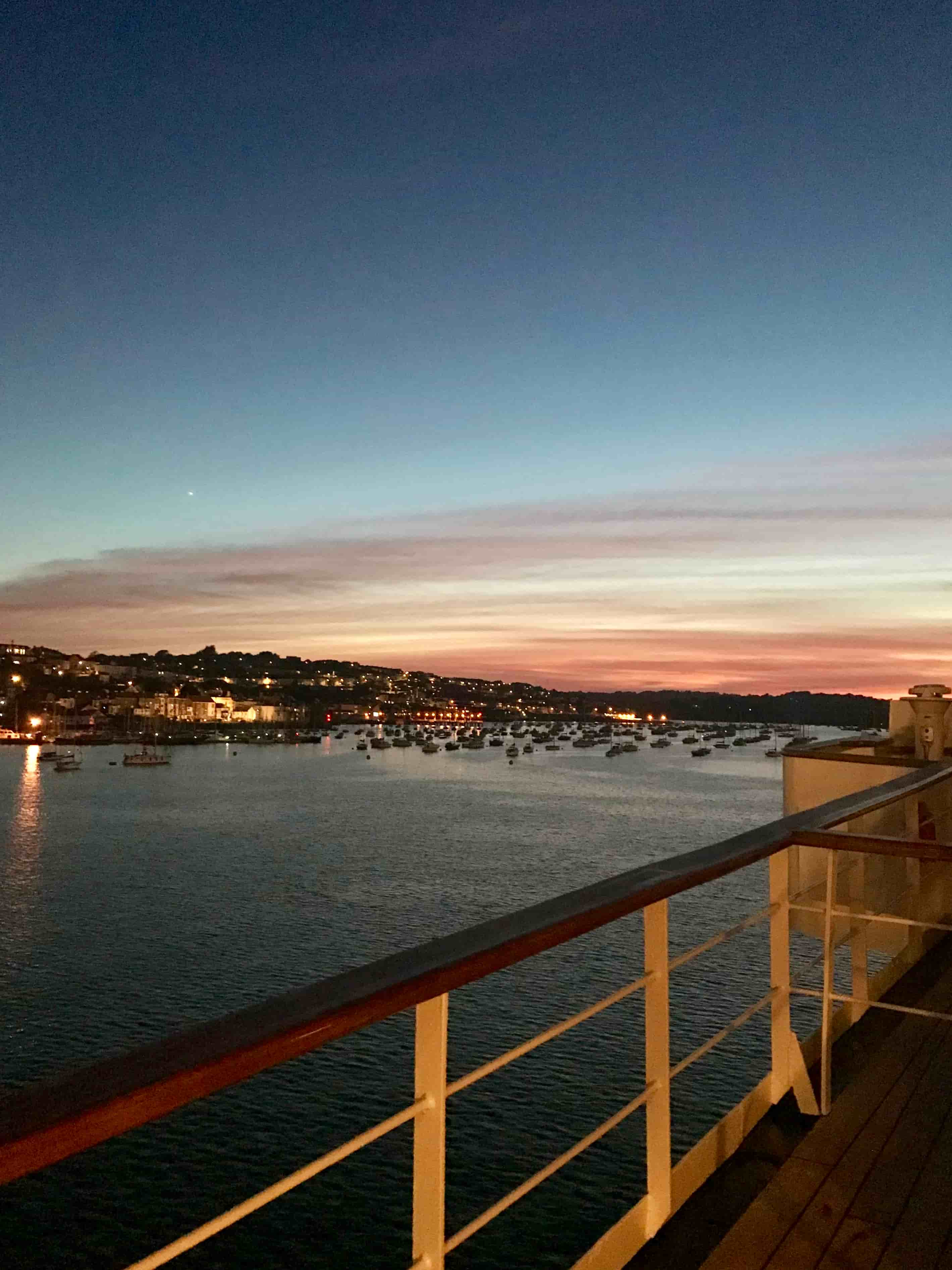 View of Falmouth Harbour from ship deck