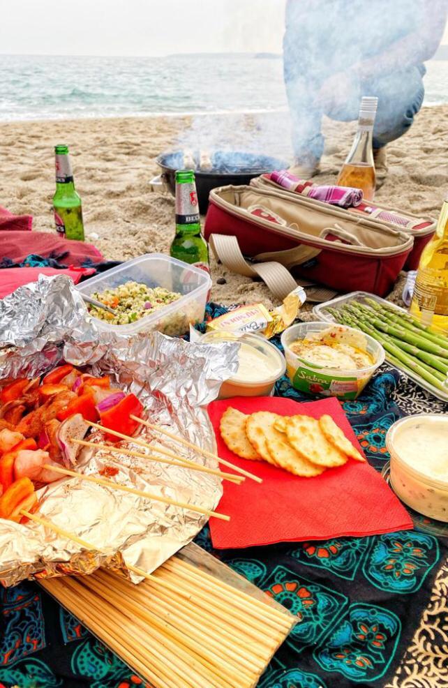 Beach BBQ with wine