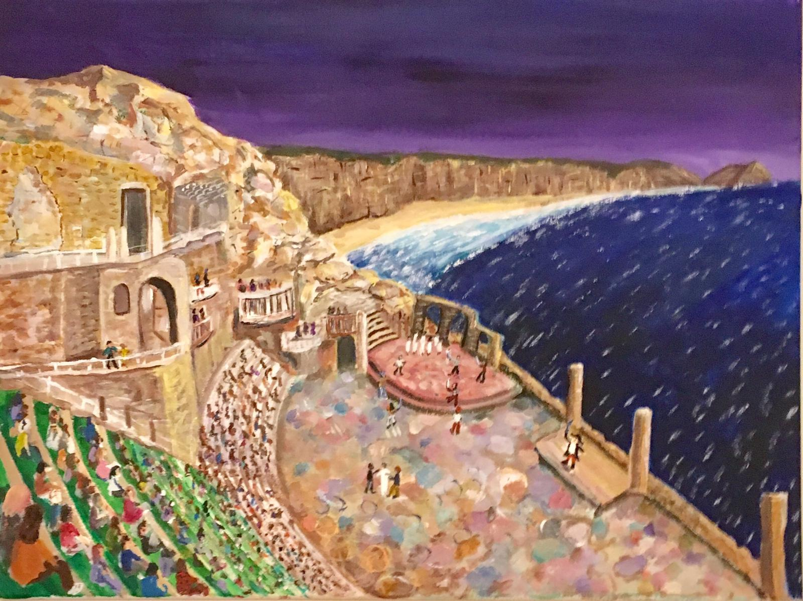 Painting of Pirates of Penzance play at Minack Theatre