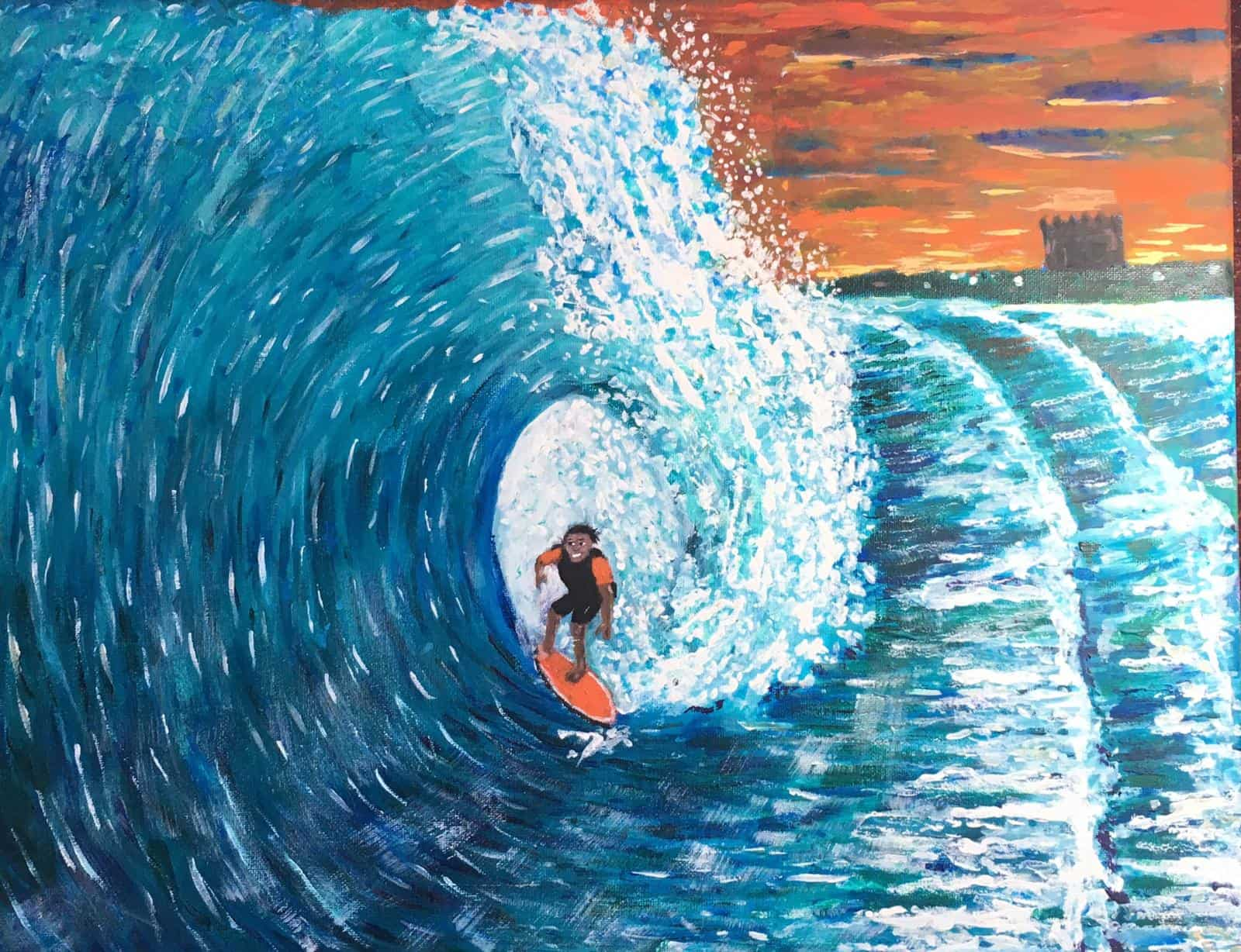Painting of surfer on Fistral Beach