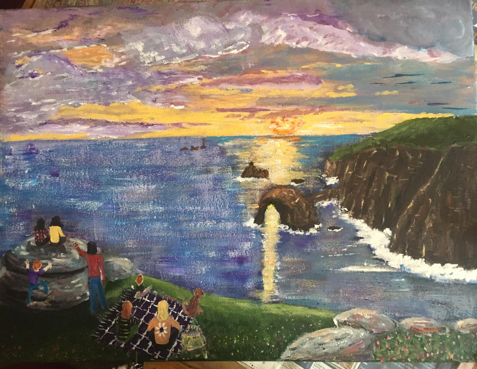 Painting of sunset at Land's End
