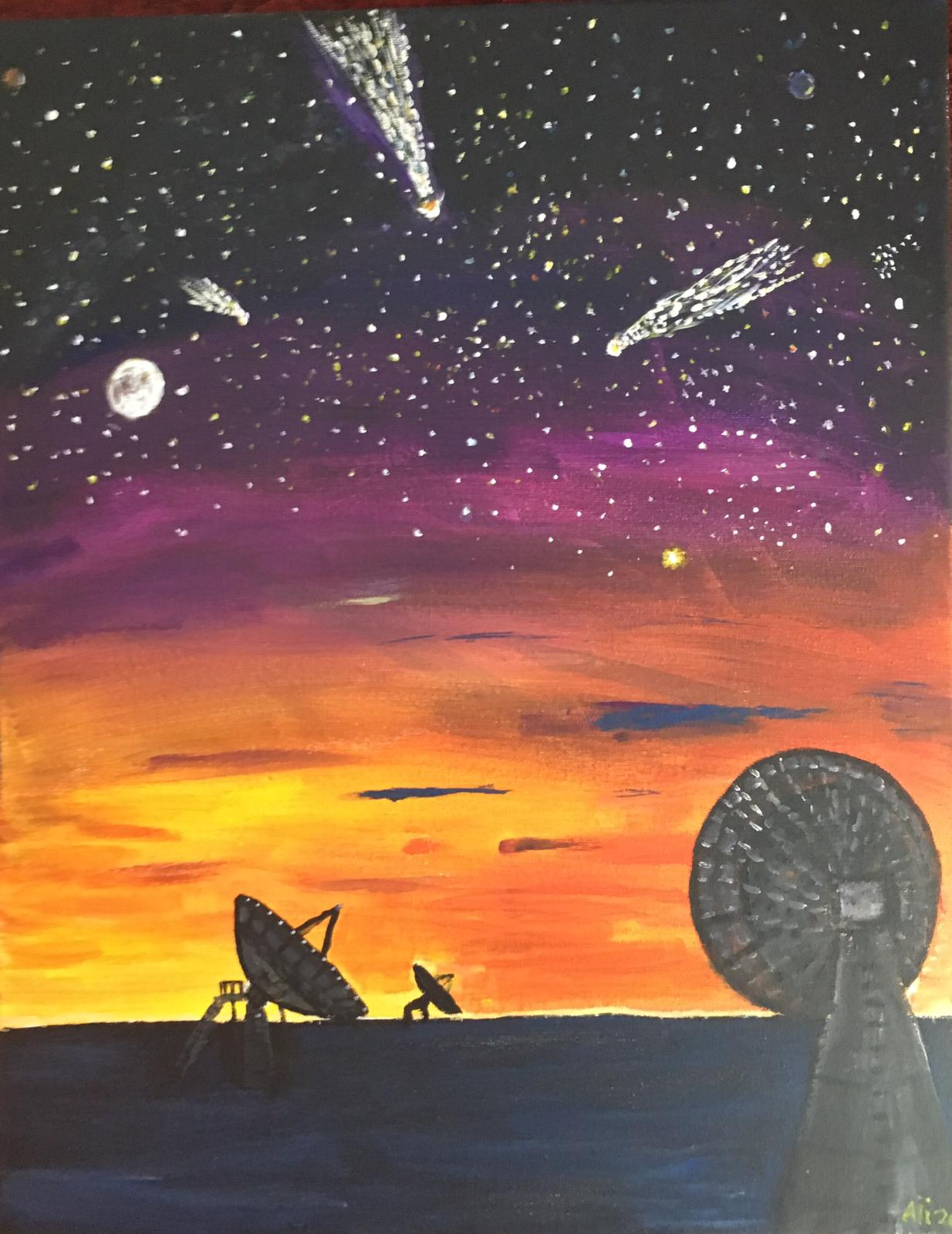 Painting of Goonhilly earth station at night