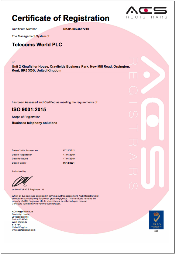 Telecoms World has been successful in obtaining ISO 9001 accreditation again this year.