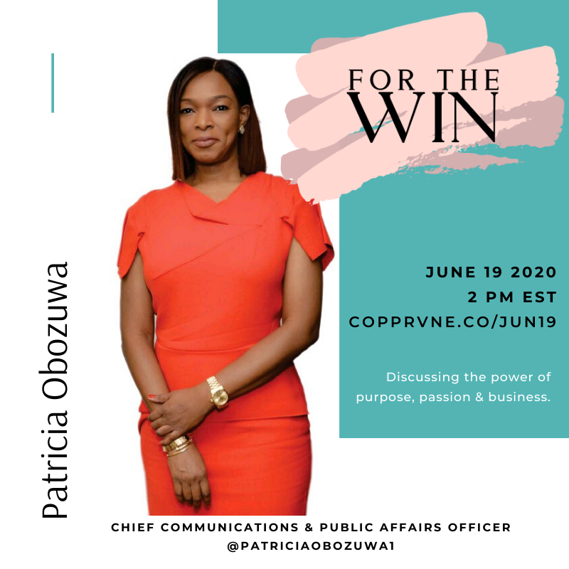 A poster for a For The Win episode featuring Patricia Obozuwa.