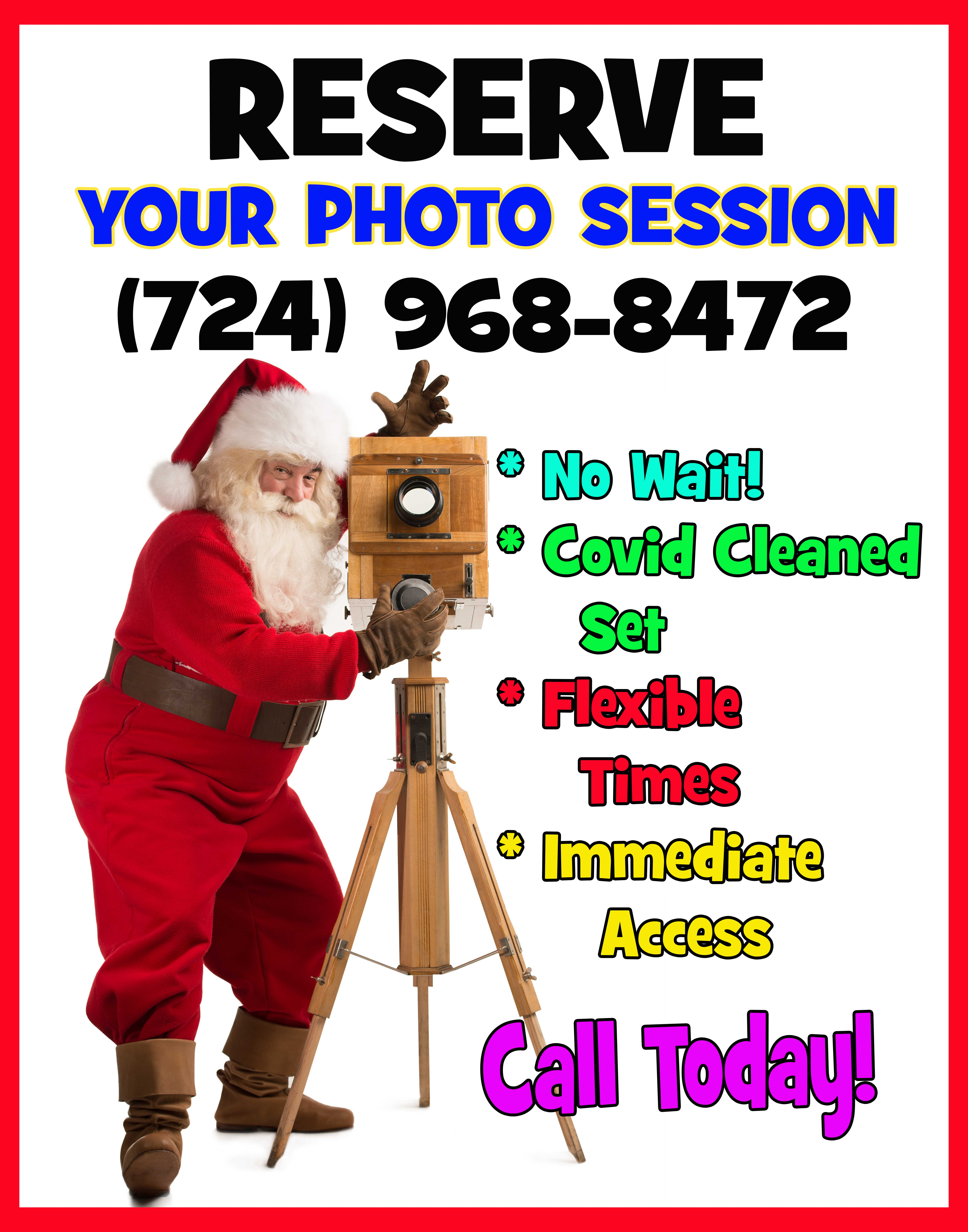 santa standing taking a photo with information regarding covid safe santa reservation call 724.968.8472