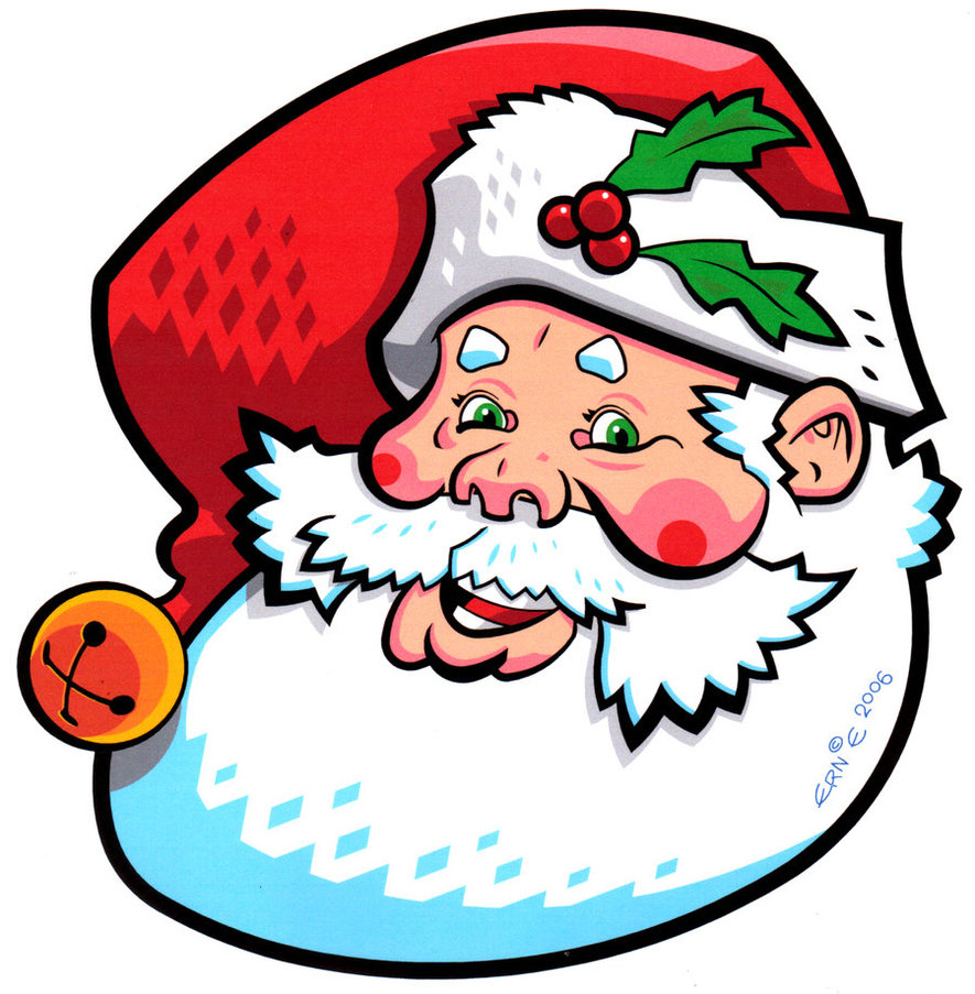 Cartoon santa with rosy cheeks and a red hat with a holly berry and two leaves.