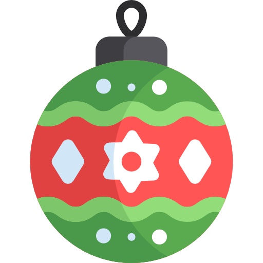 Red and green glass ball Christmas ornament flat icon