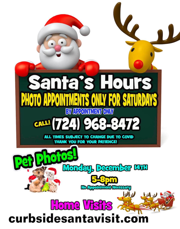 Santa and reindeer with santa photo hours