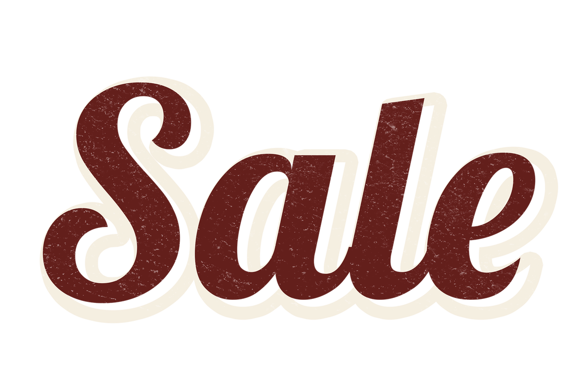 Sale in red letters