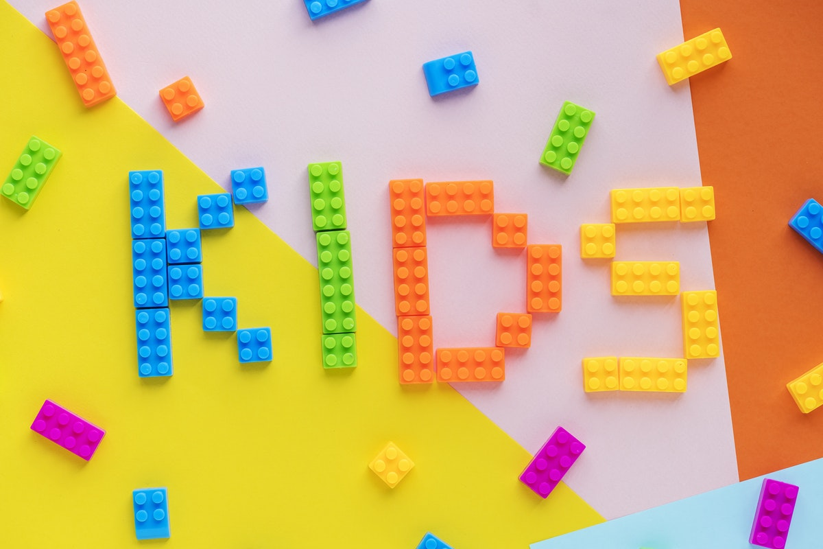 """""""KIDS"""" spelled out in legos"""