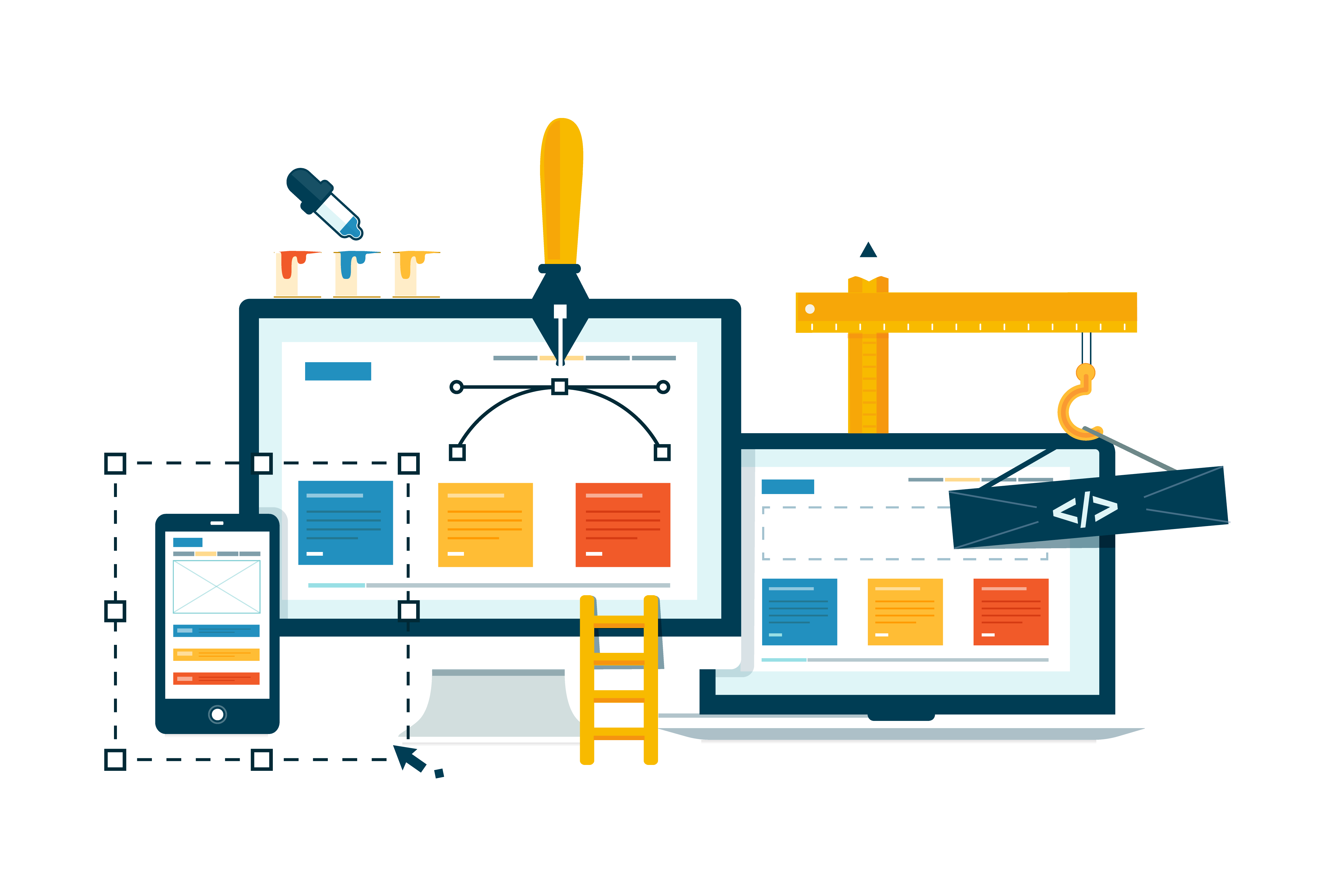 Two computers showing the process of website design development