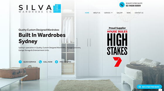 Client Silva Wardrobes website homepage