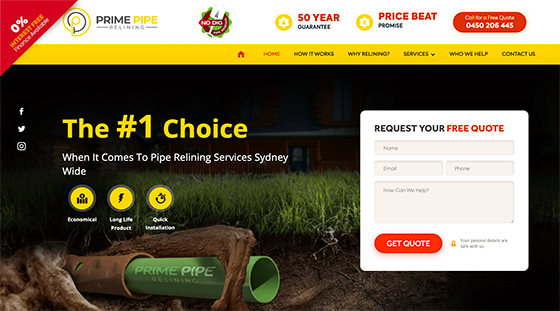 Prime Pipe Relining Website Project