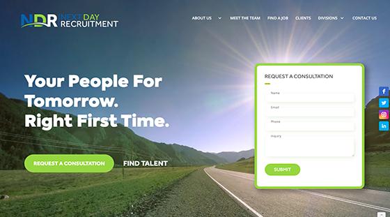 Client Next Day Recruitment website homepage