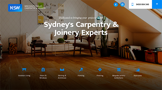 Client NSW Carpentry website homepage