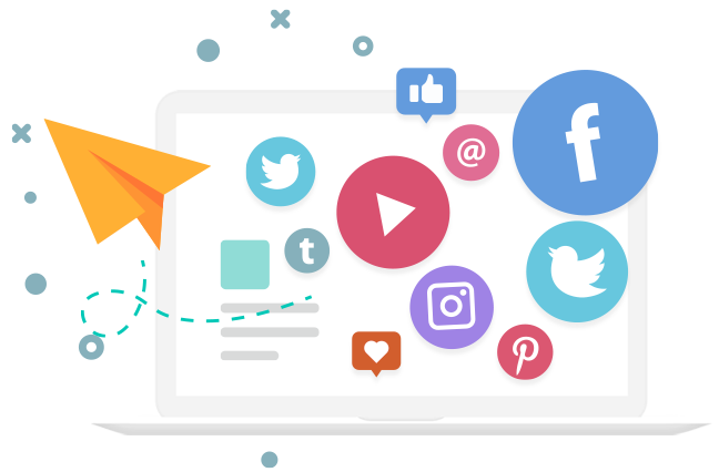 Facebook, Instagram, Twitter, Pinterest icons on a laptop
