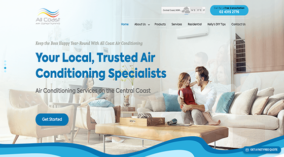 Client All Coast Air Conditioning homepage website