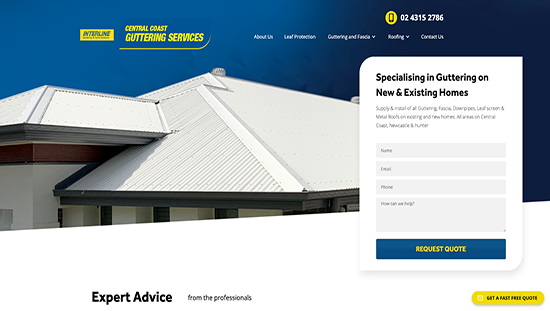 Client Central Coast Guttering homepage website