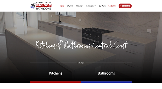 Client Central Coast Kitchens and Bathrooms website homepage