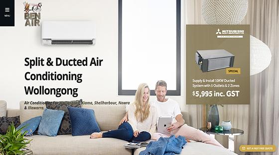 Client Ben Air Conditioning website homepage