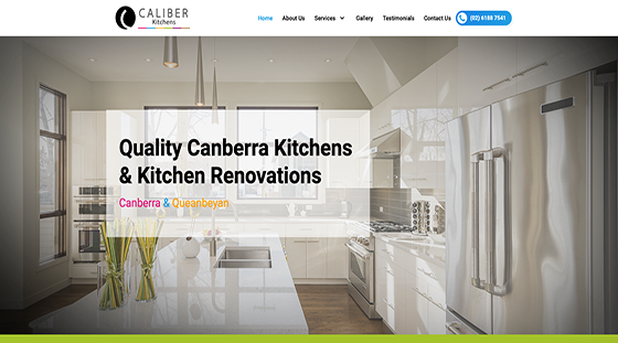 Client Caliber Kitchens website homepage
