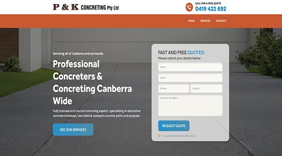 Client P&K Concreting website homepage