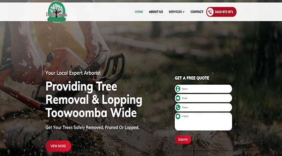 Client Darling Downs Tree Services website homepage