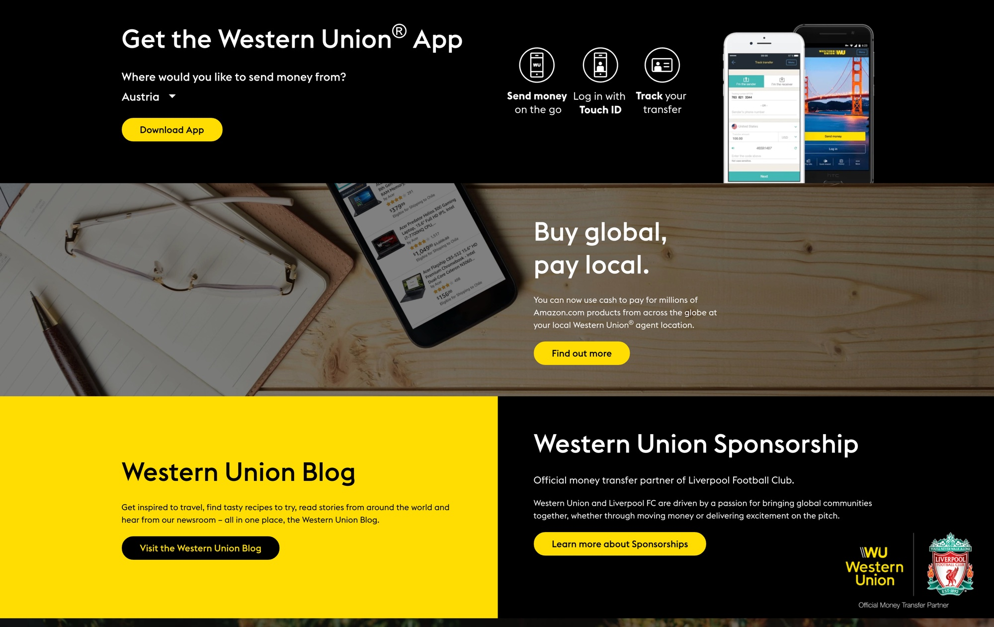Screenshot der Western Union Global Landing Page