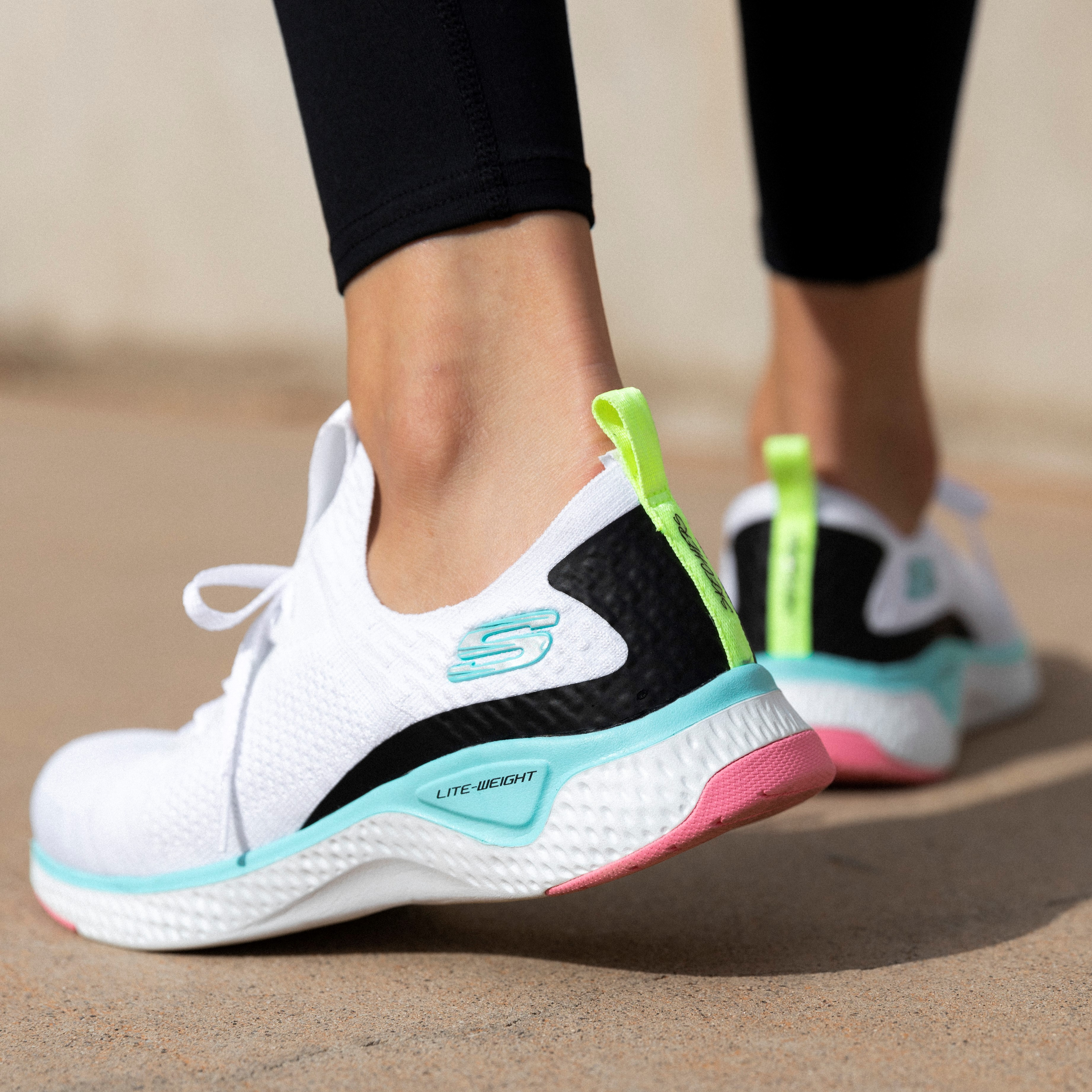 Close up photo of Skechers runners