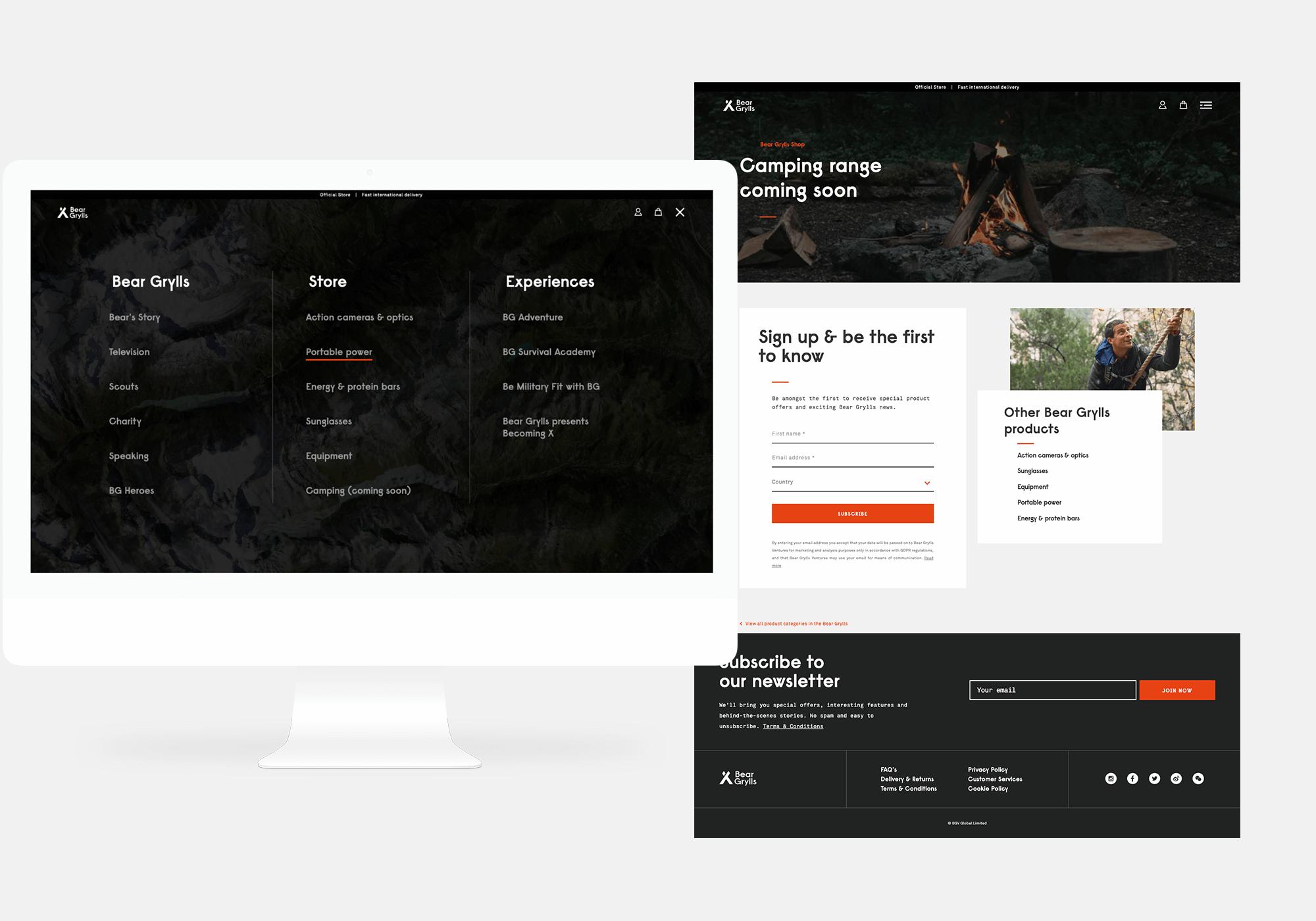 Bear Grylls eCommerce Navigation Design