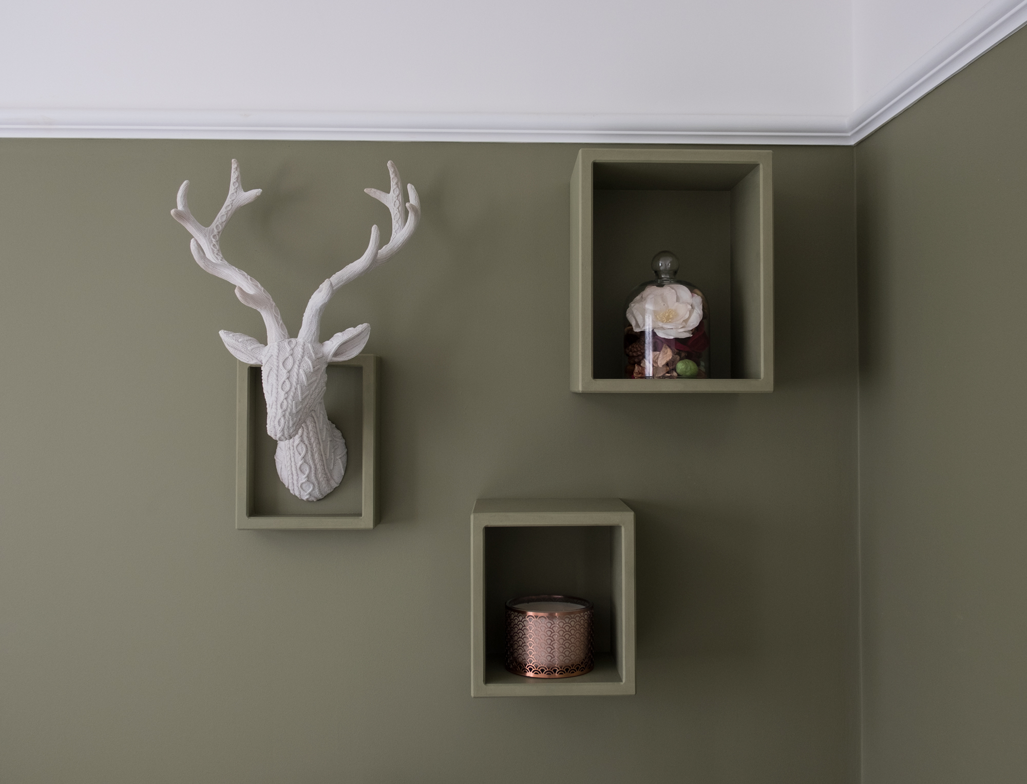 Green floating shelves on a green wall with a stags head and a plant inside them