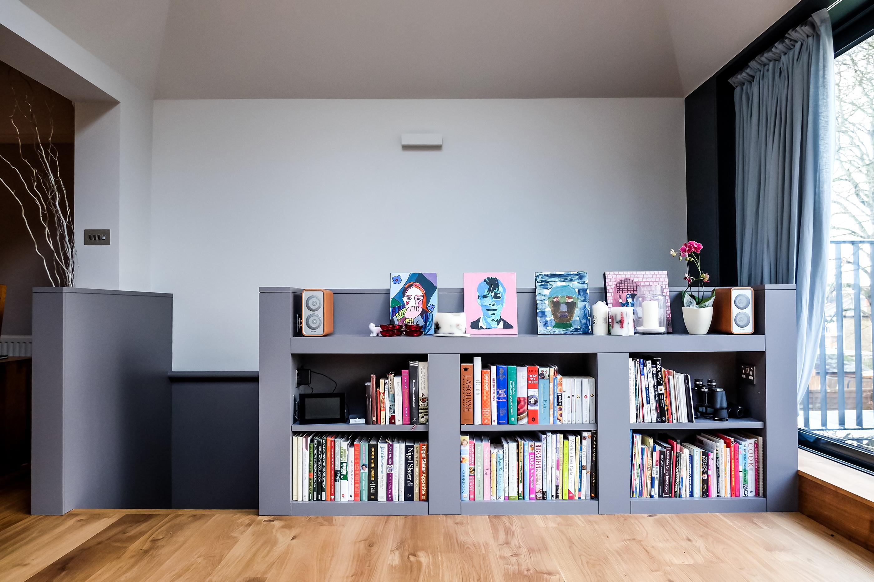 A grey bookshelf