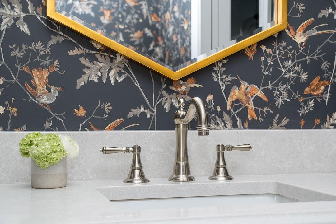 A closeup shot of the sink