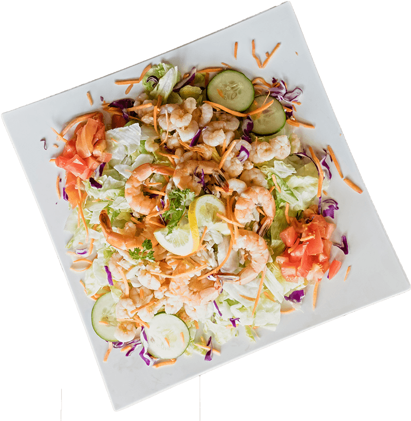 plate of salad with shrimp