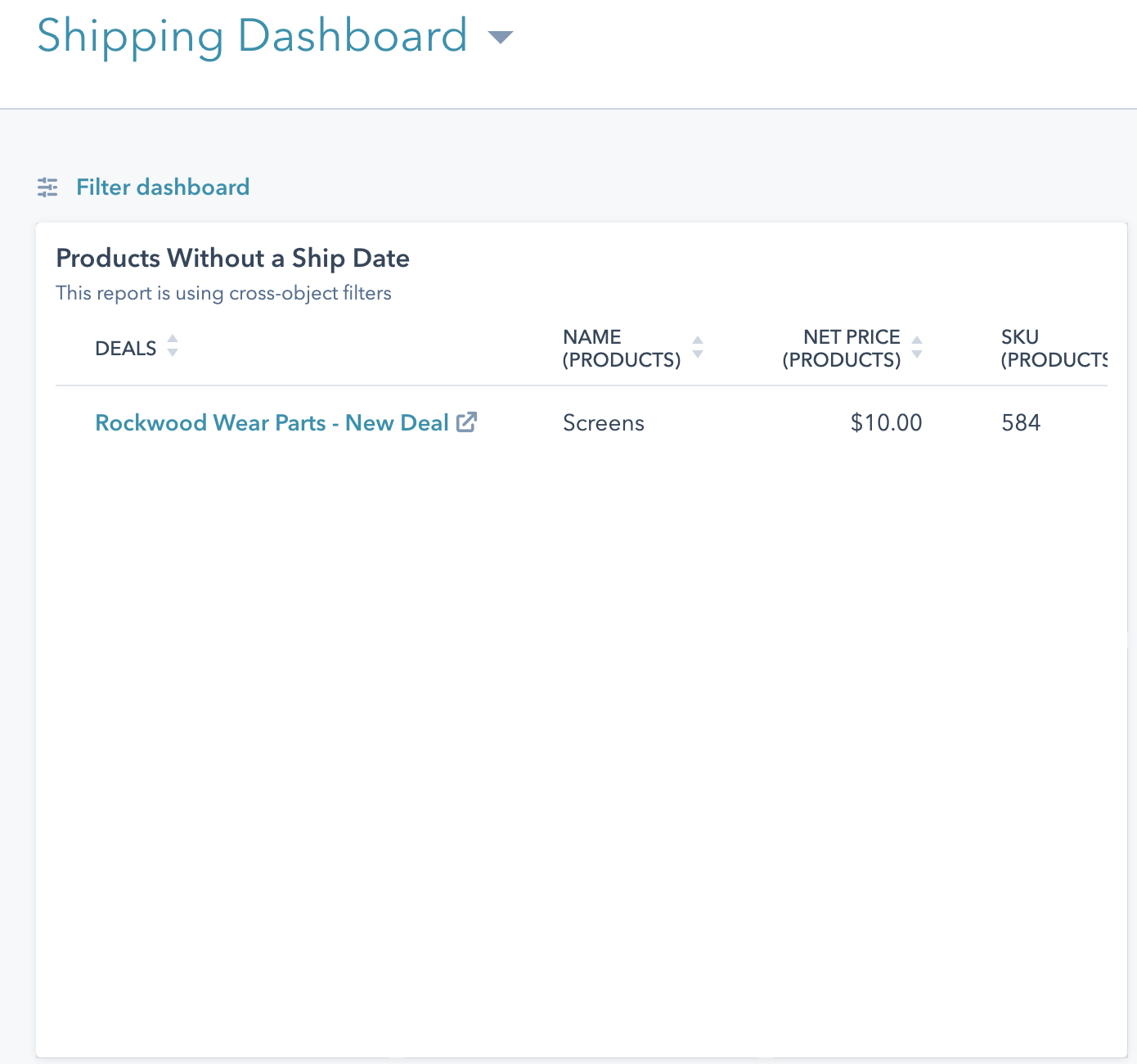 A view of the Shipping Dashboard, with a new deal featured