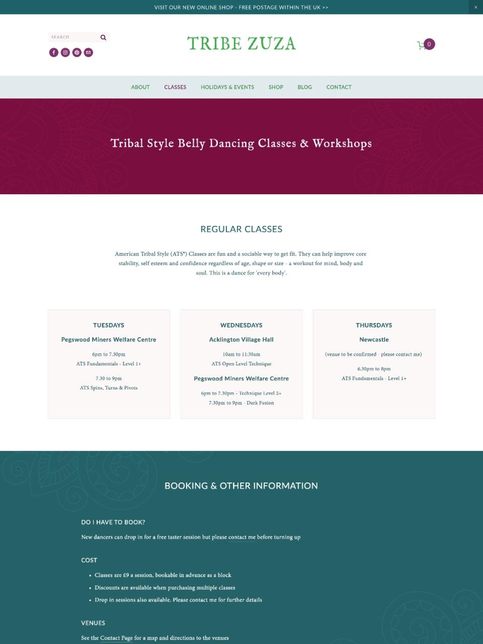 Tribe Zuza Website  Workshops & Regular Classes