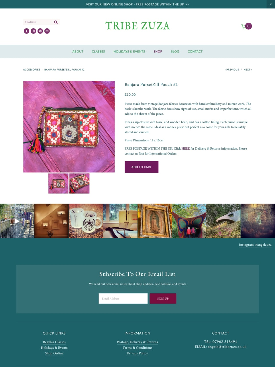 Tribe Zuza Website Shop Detail Page