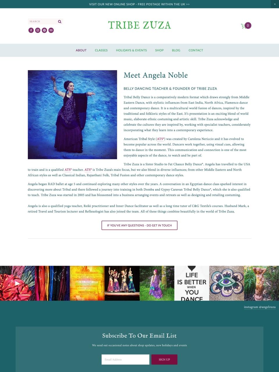 Tribe Zuza Website  About Angela Noble