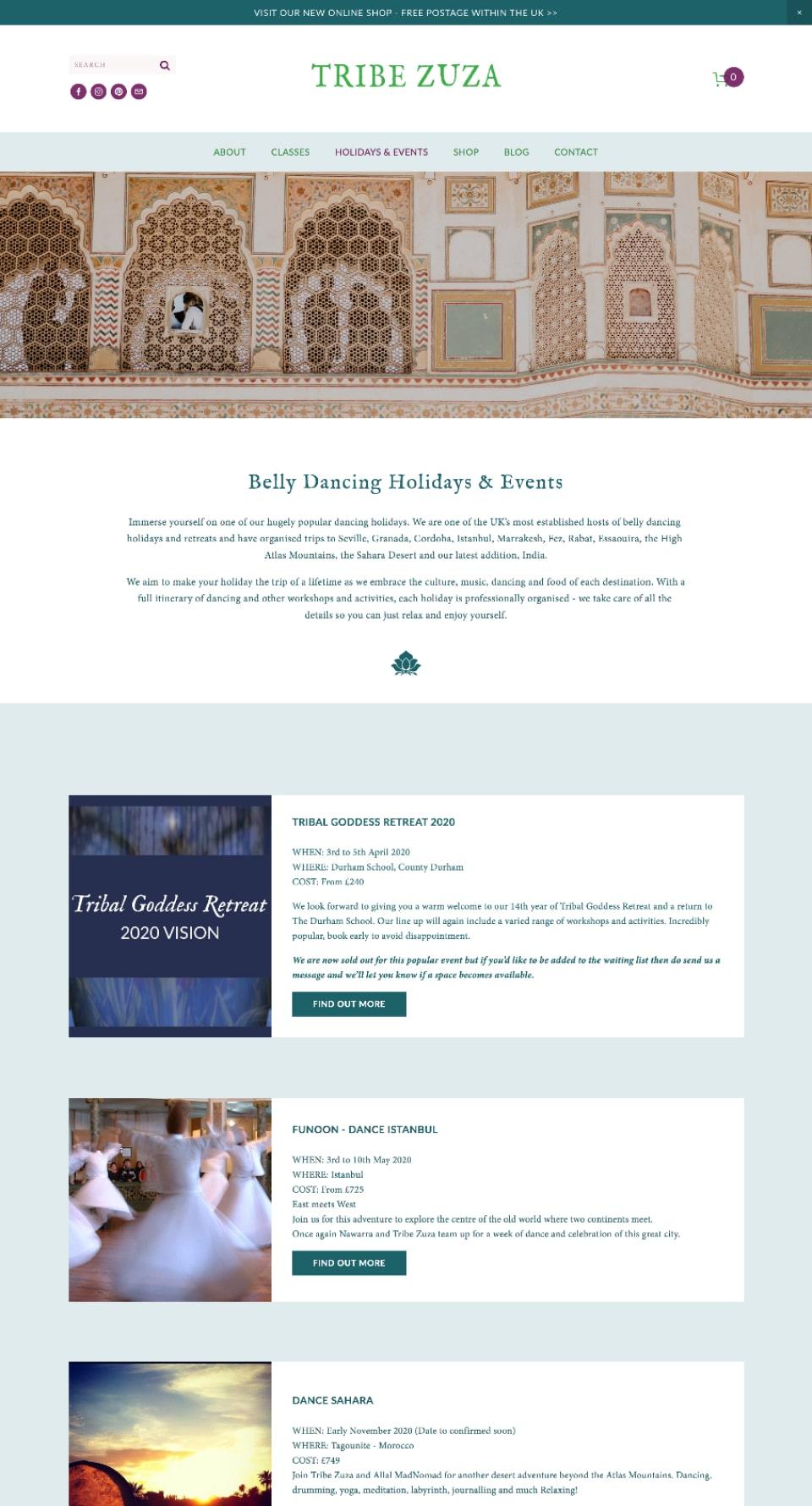Tribe Zuza Website  Holidays & Retreats  Page