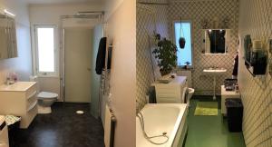 Före och efter bild på badrummet