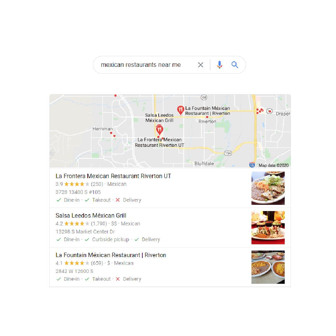 Google reviews restaurant screen grab