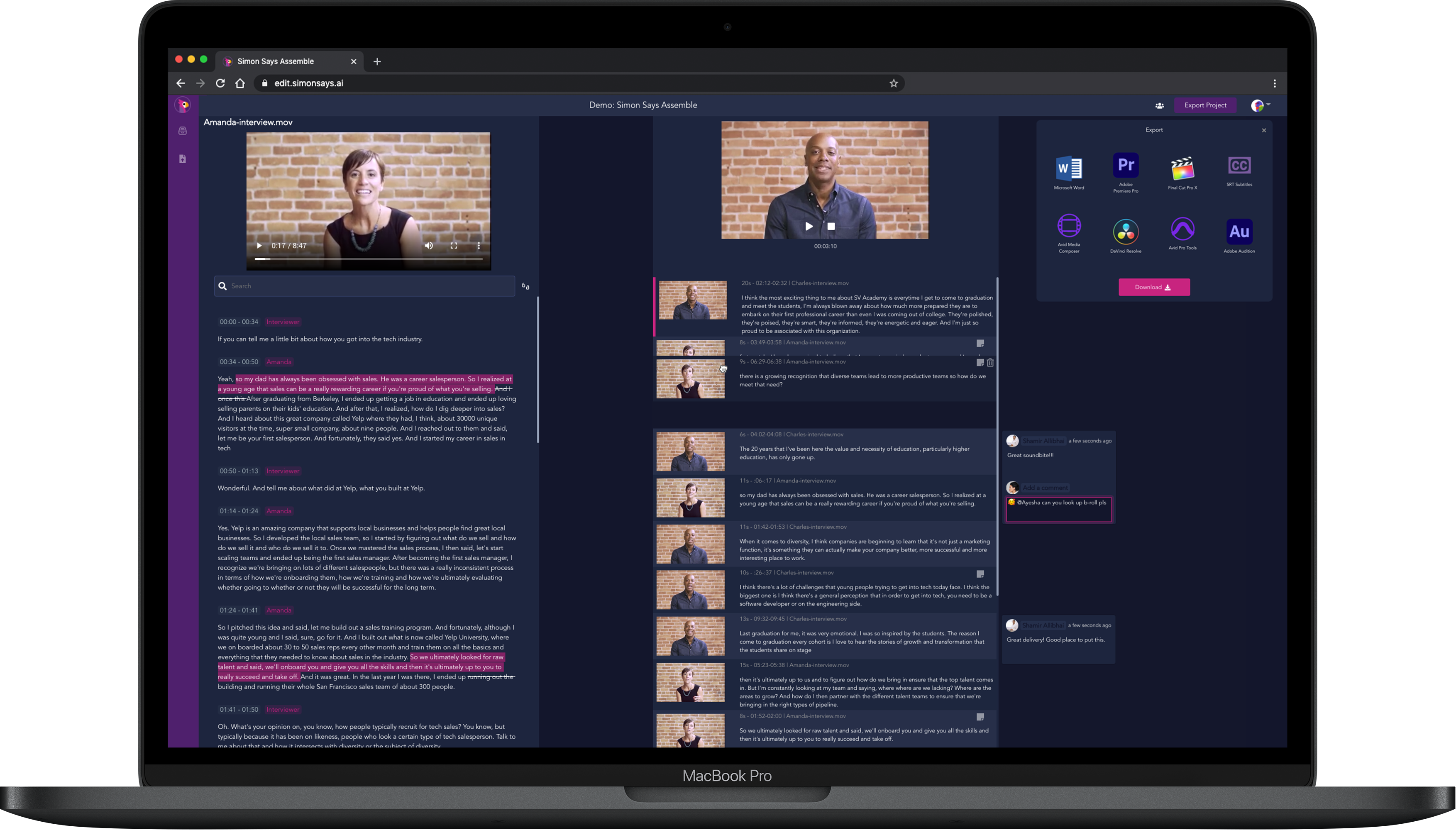 Simon Says Assemble, text-based video editor in the browser